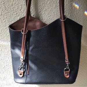 Vera Pelle. Black & Brown leather versatile purse.